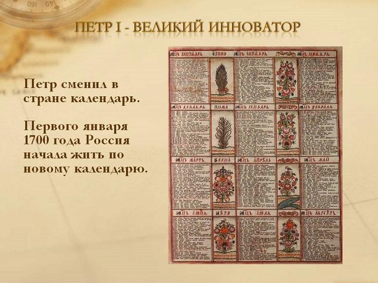 Какой календарь введен петром