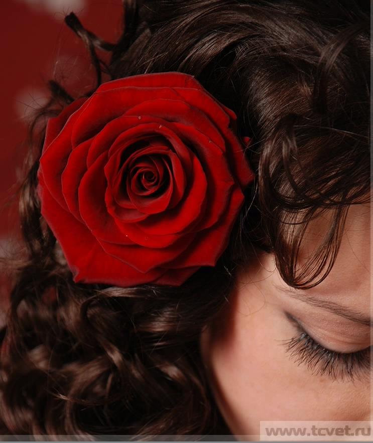 Роза на волосы своими руками