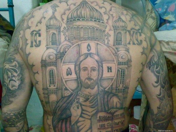 Тату на спине церковь фото