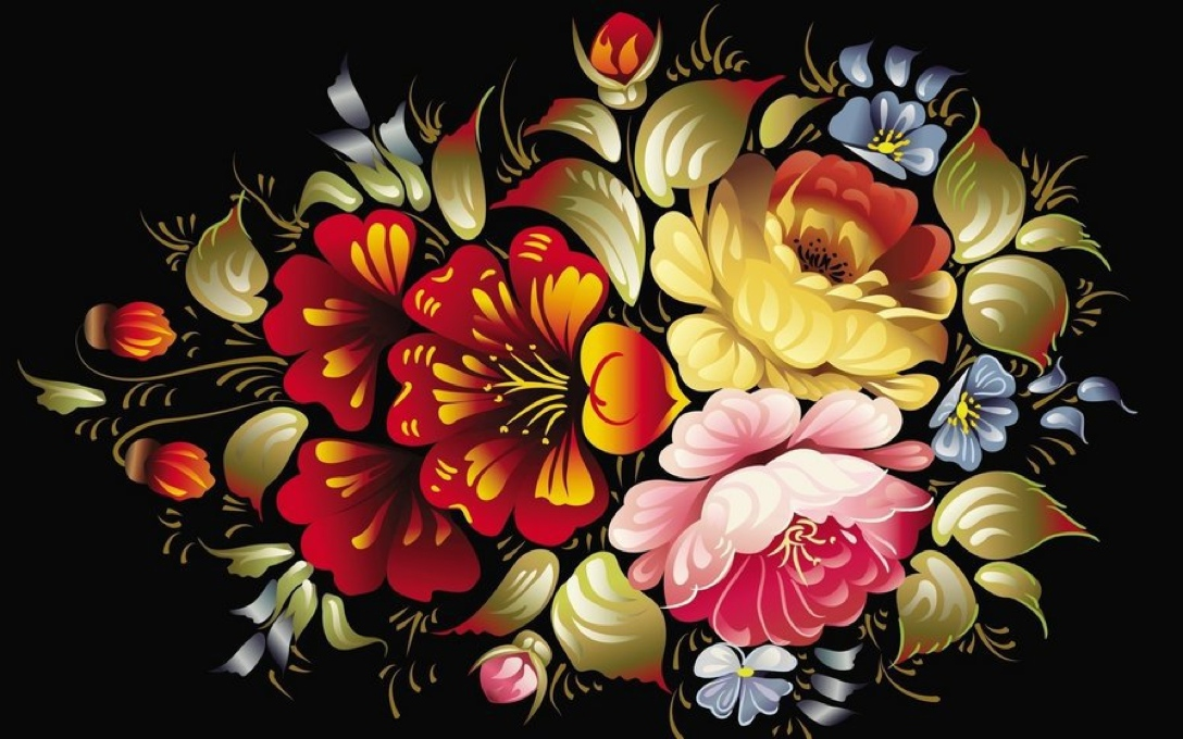Палехская роспись цветов