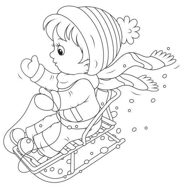 Раскраска ребенок на санках