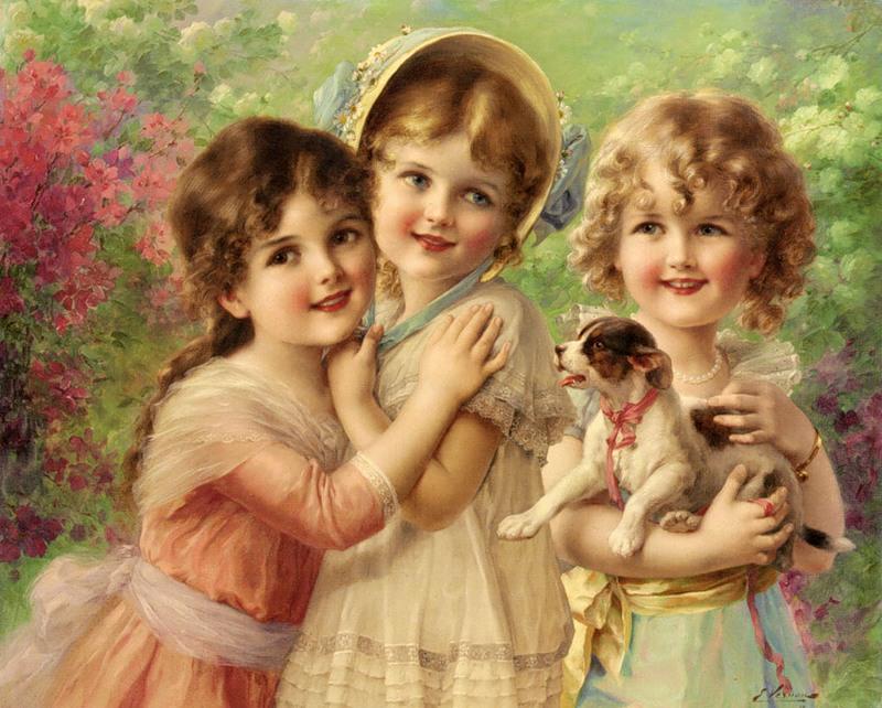 Красивые картинки, открытка 2 девочки