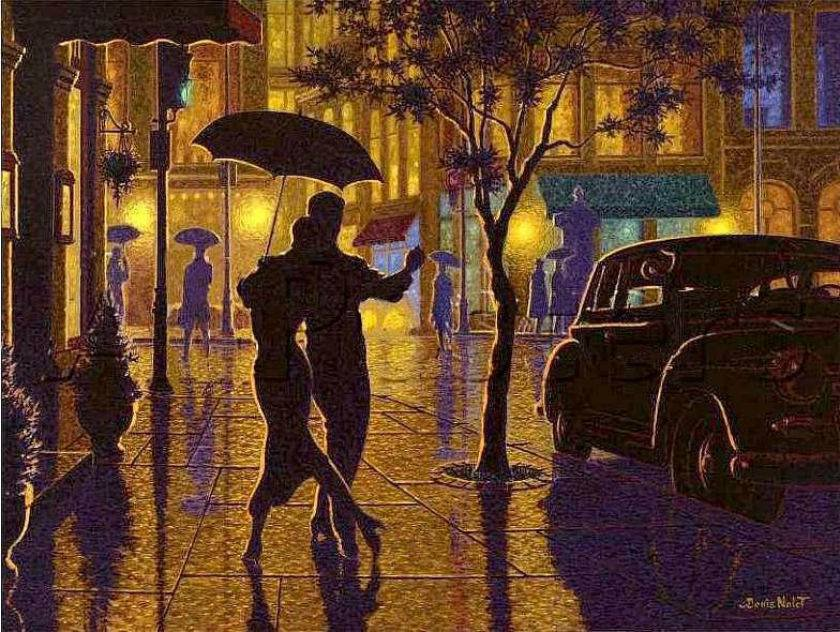мужчина и дождь открытки