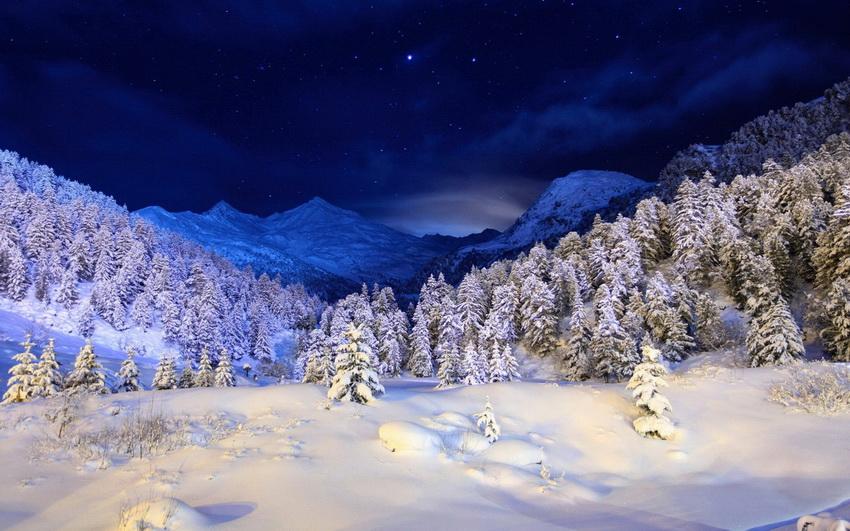 обои для рабочего стола зима ночь