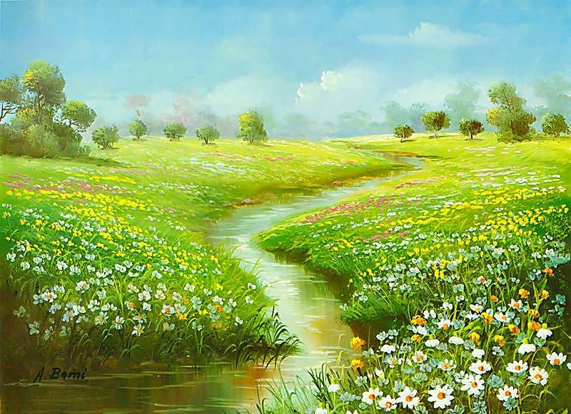 Летие открытки, картинки ромашки поле река
