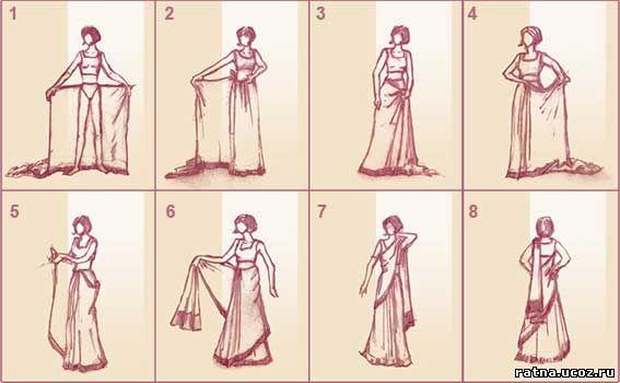 Как правильно одеть сари поэтапно