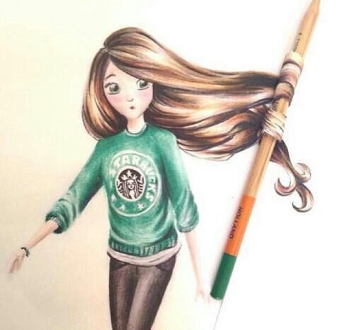 Девочка с длинными волосами рисунки