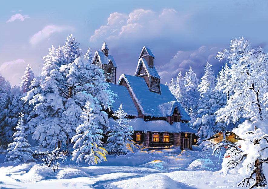 Надписями, зимняя деревня открытка