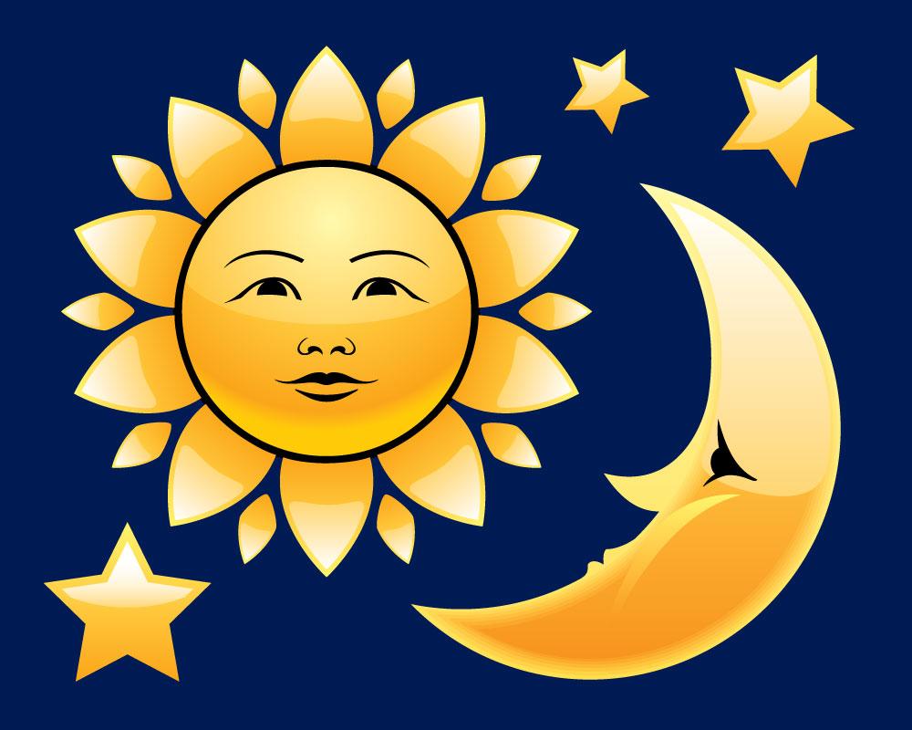 Картинка для 1 класса где нарисована луна и солнце каравай