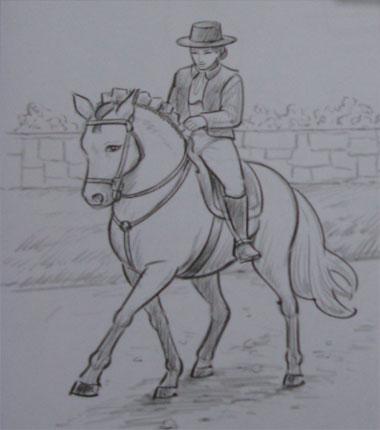 Нарисовать всадника на лошади поэтапно