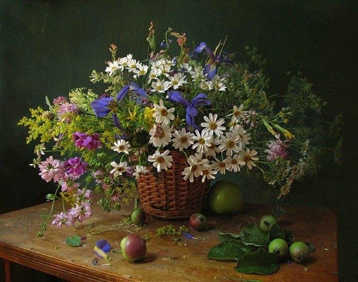 Цветы полевые натюрморт