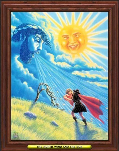 этом картинки к рассказу ветер и солнце семье