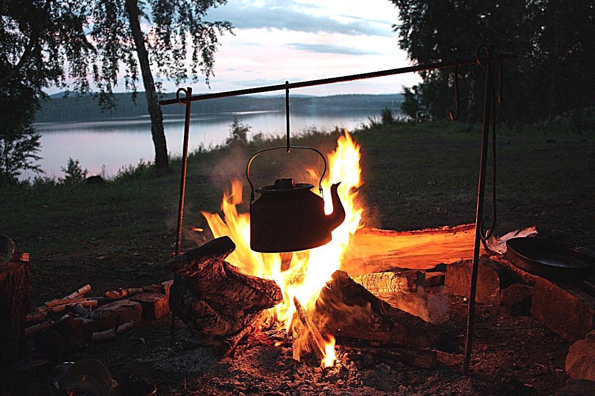 ночная рыбалка костер
