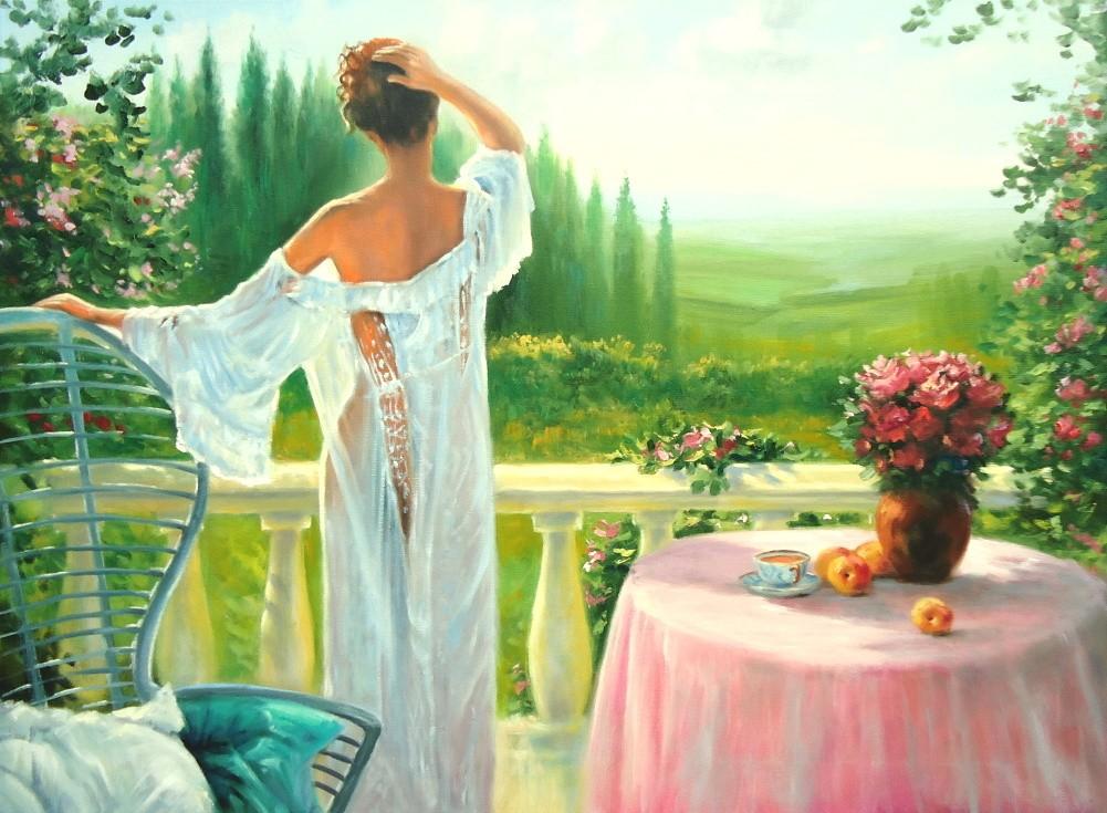 Картины (живопись) : женщина на балконе. автор наталья влади.