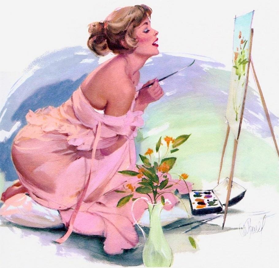 Открытки женщина-художник