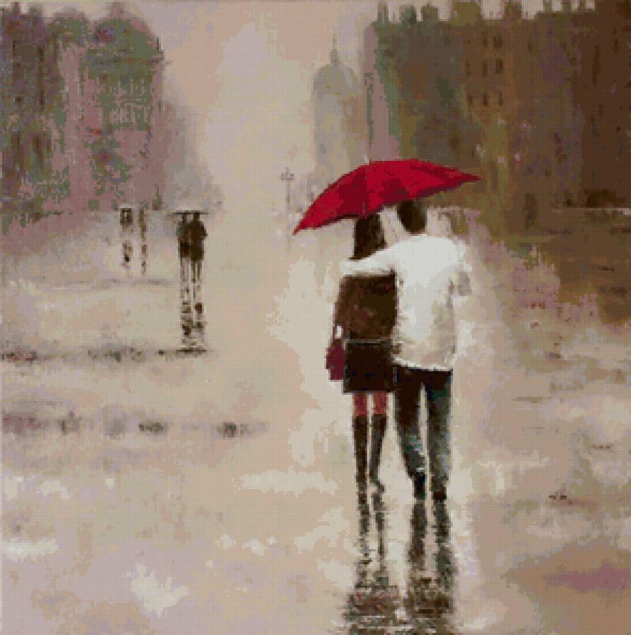Почему под дождем человек идет без зонта 261