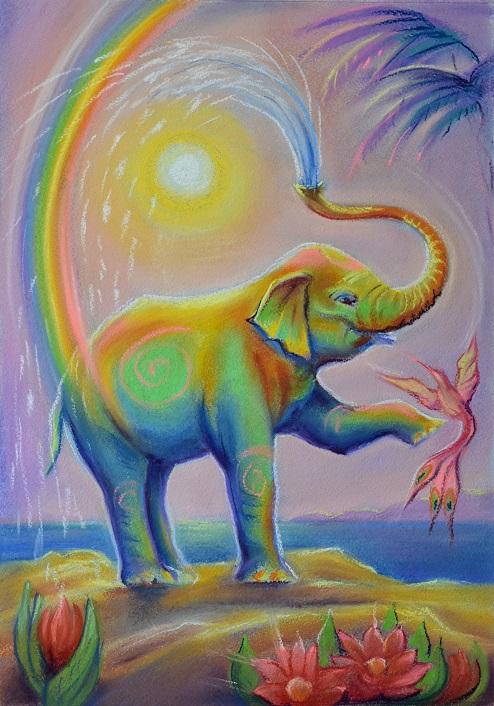 картинки с радужными слонами это, коляски для