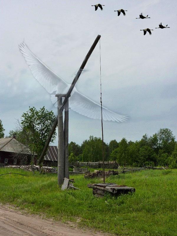 картинка в деревне у колодца высокий журавль появилось пятно