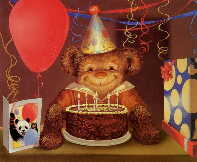 С днем рождения картинка медведь, девочке