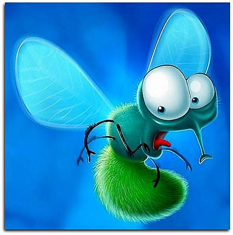 Веселый рисунок мухи, для племянника открытки