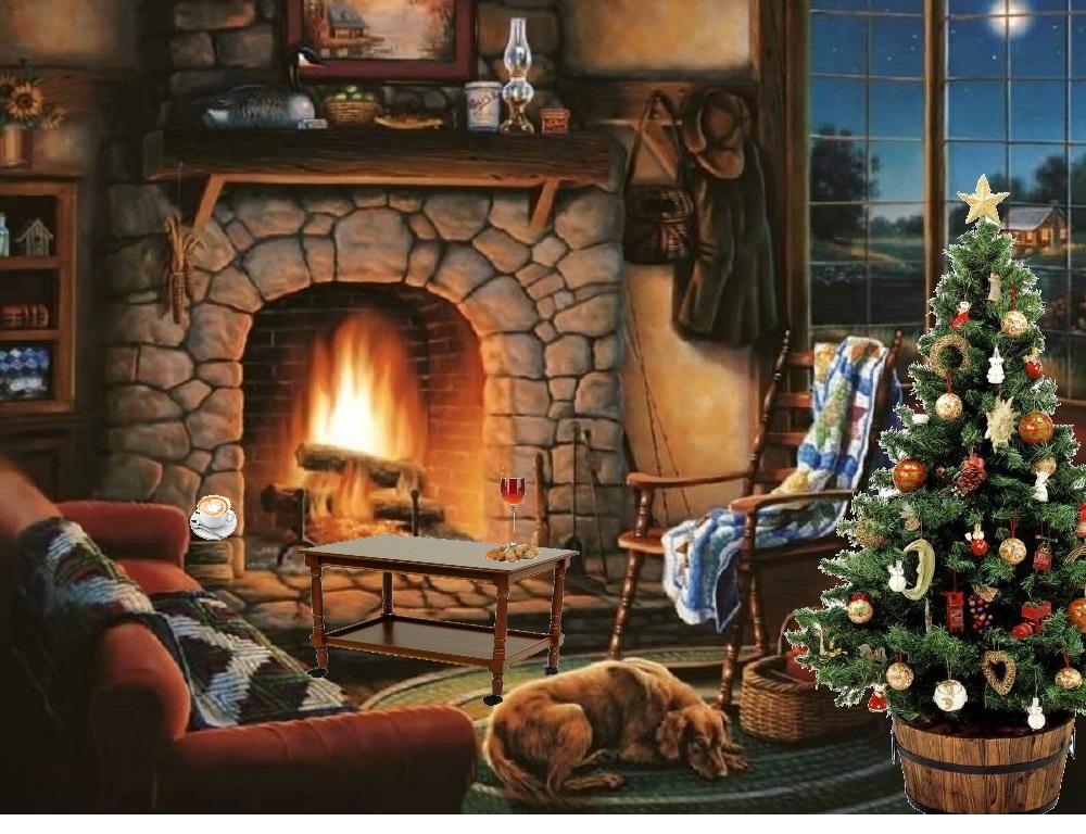 Гифка зимний вечер у камина