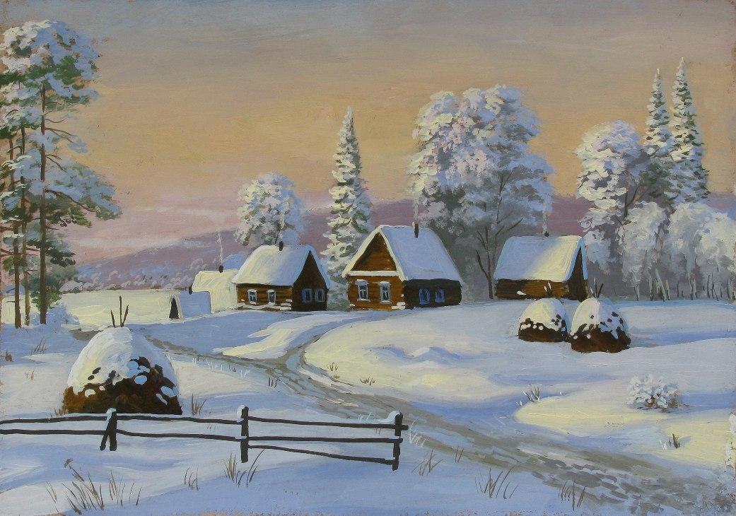 Зимняя деревня картинки нарисованные