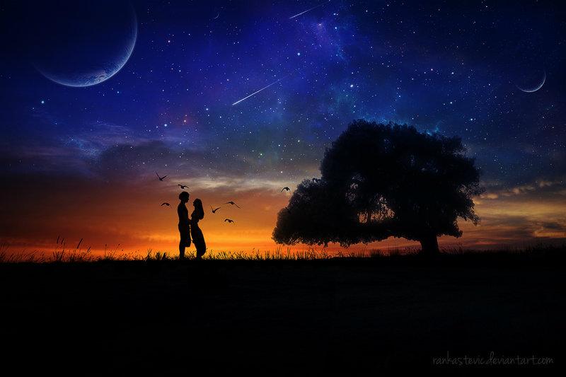 Открытка ночное небо пара, марта рисование