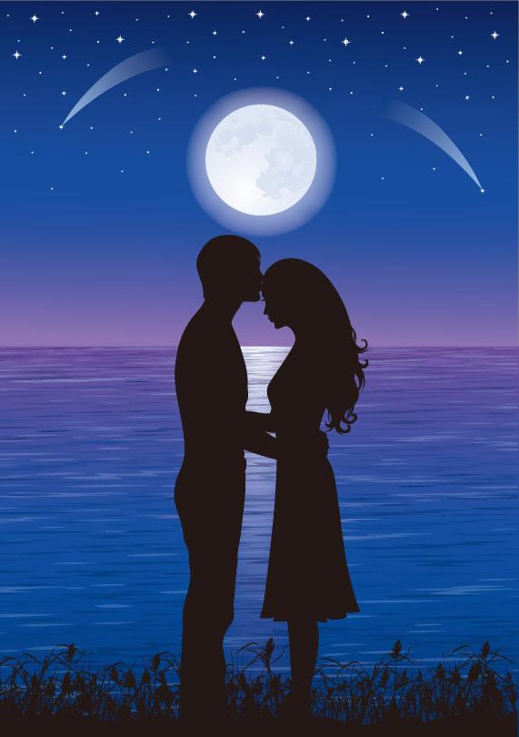 Открытки ночь и влюбленные, космонавтики