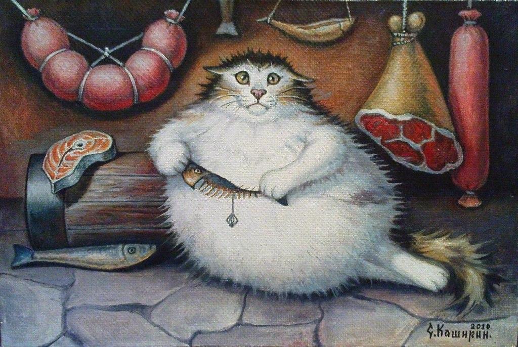Толстый кот смешные рисунки, открытки