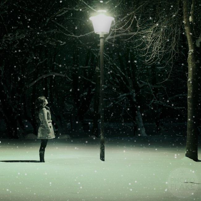 идея картинка снегопад и фонарь порядок