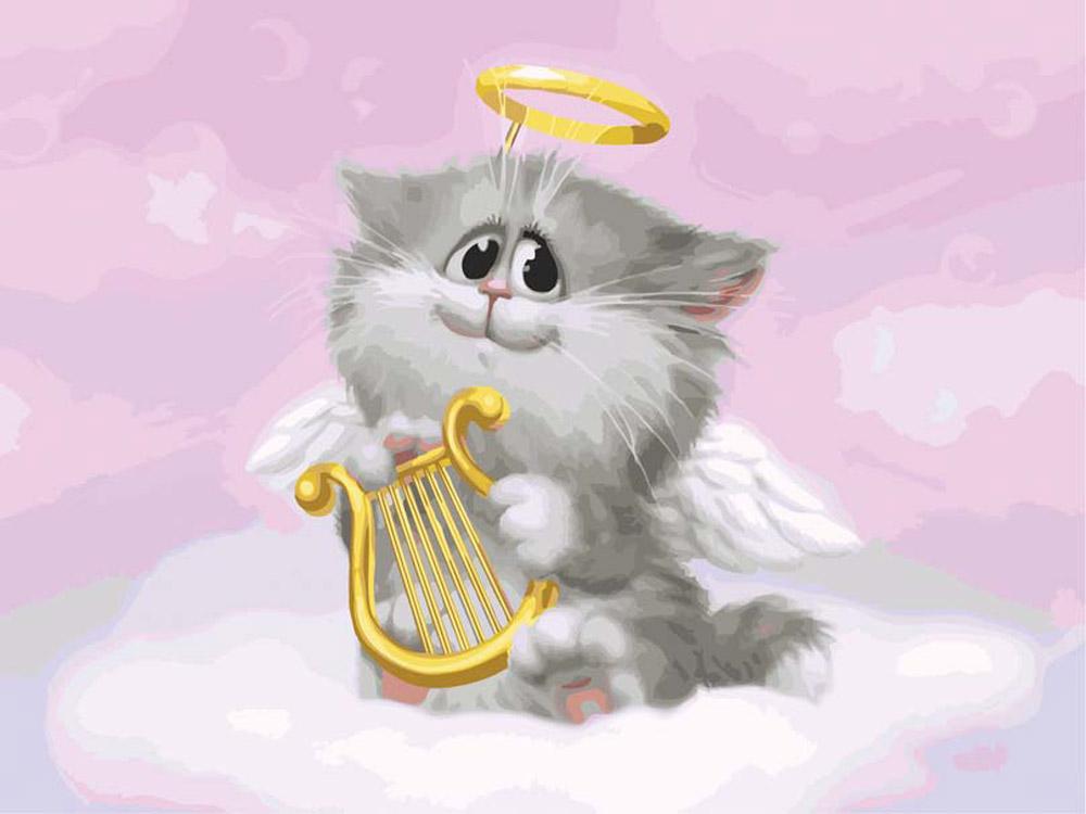 Котик ангел открытка