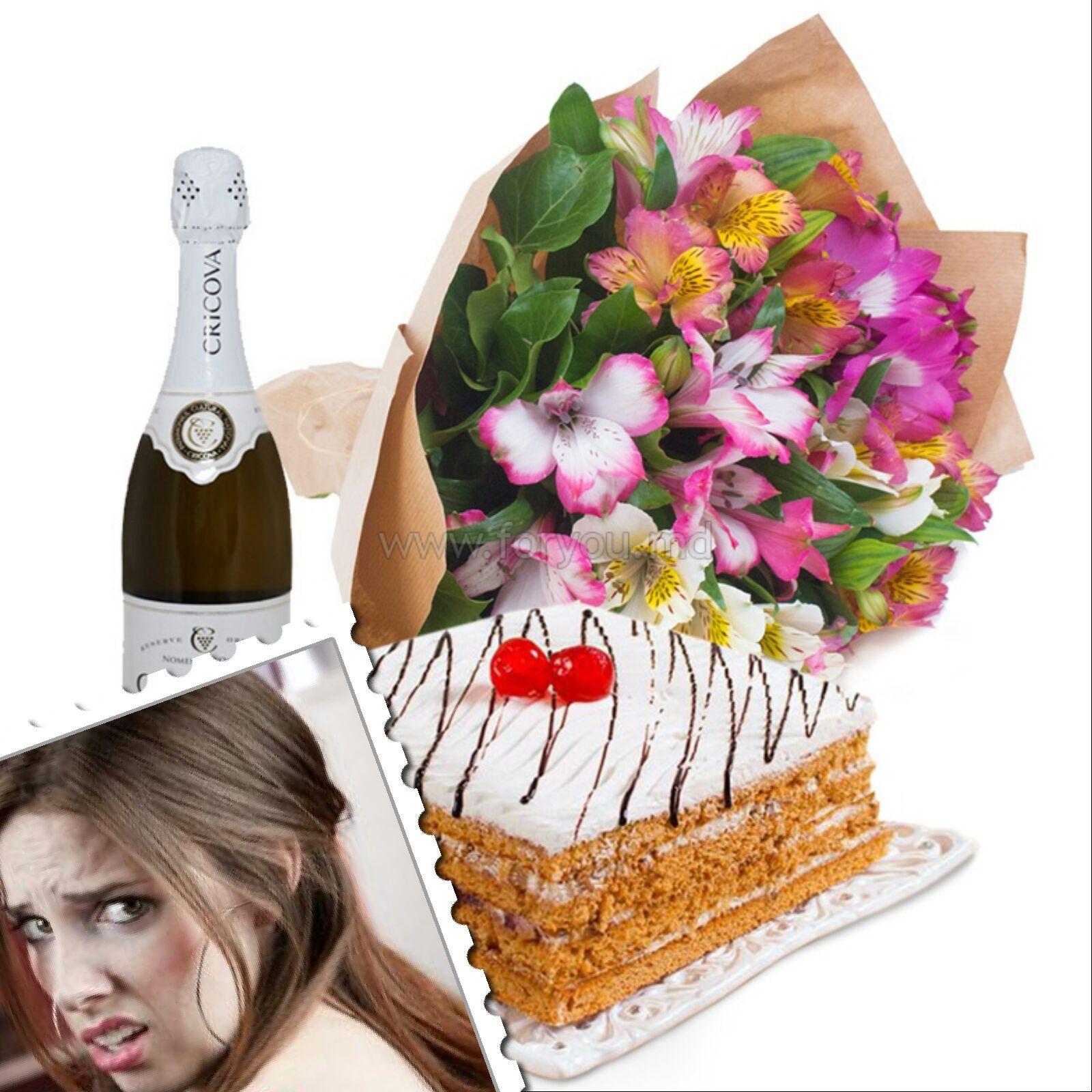 Картинка с тортом и шампанским