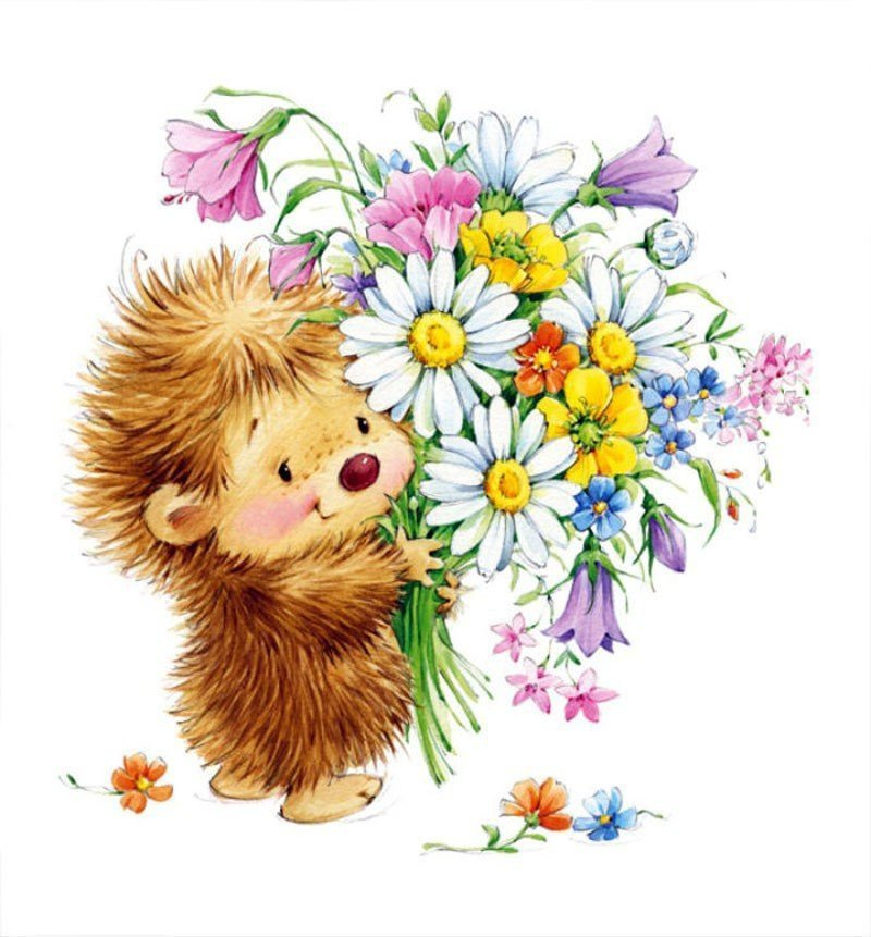 Смешные медсестра, открытки цветы с зверушками