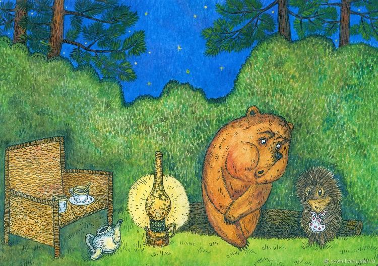 Картинки, прикольные картинки медвежонок и ежик