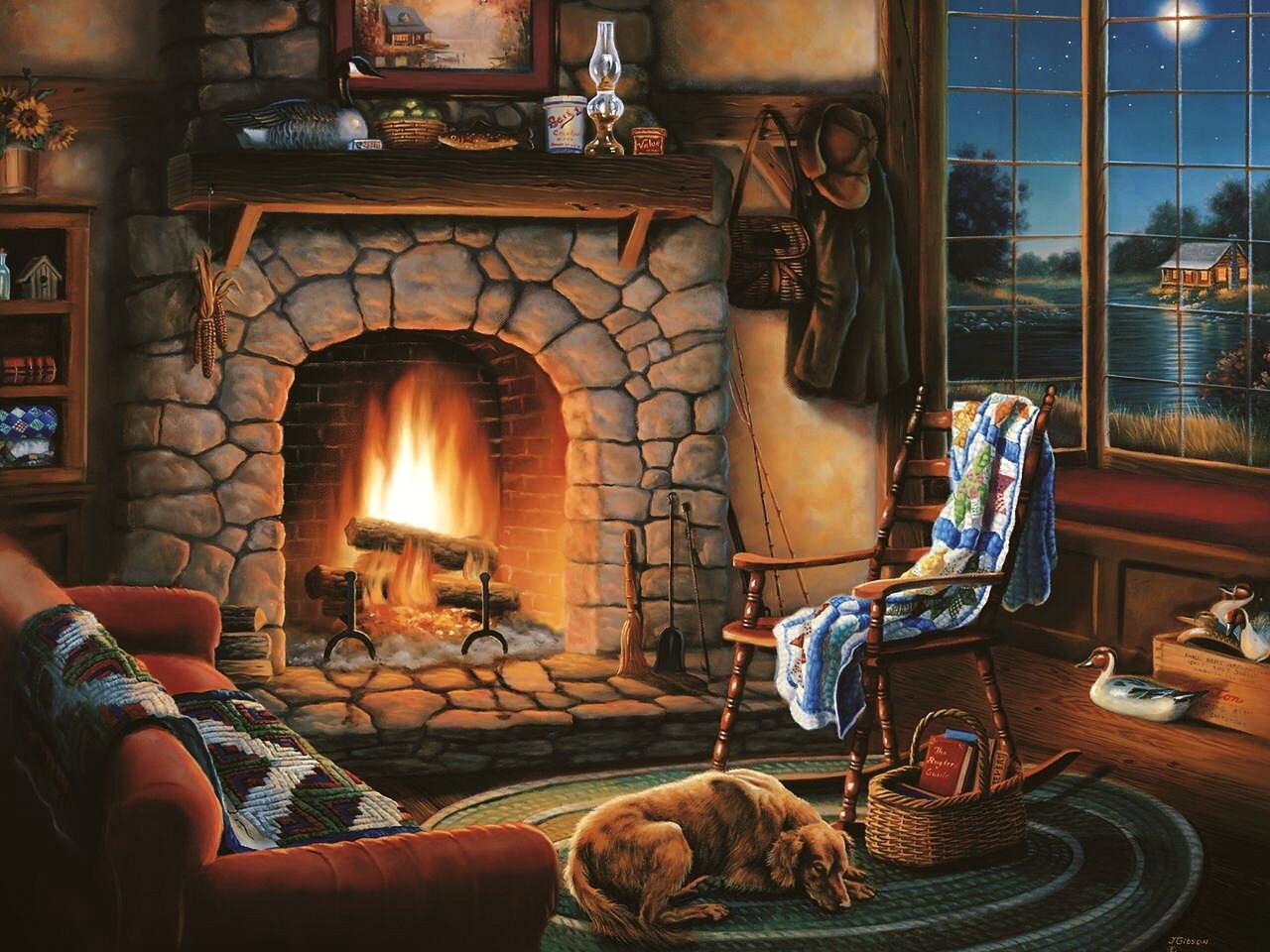 Картинки зимой у камина, пятничный вечер поздравить