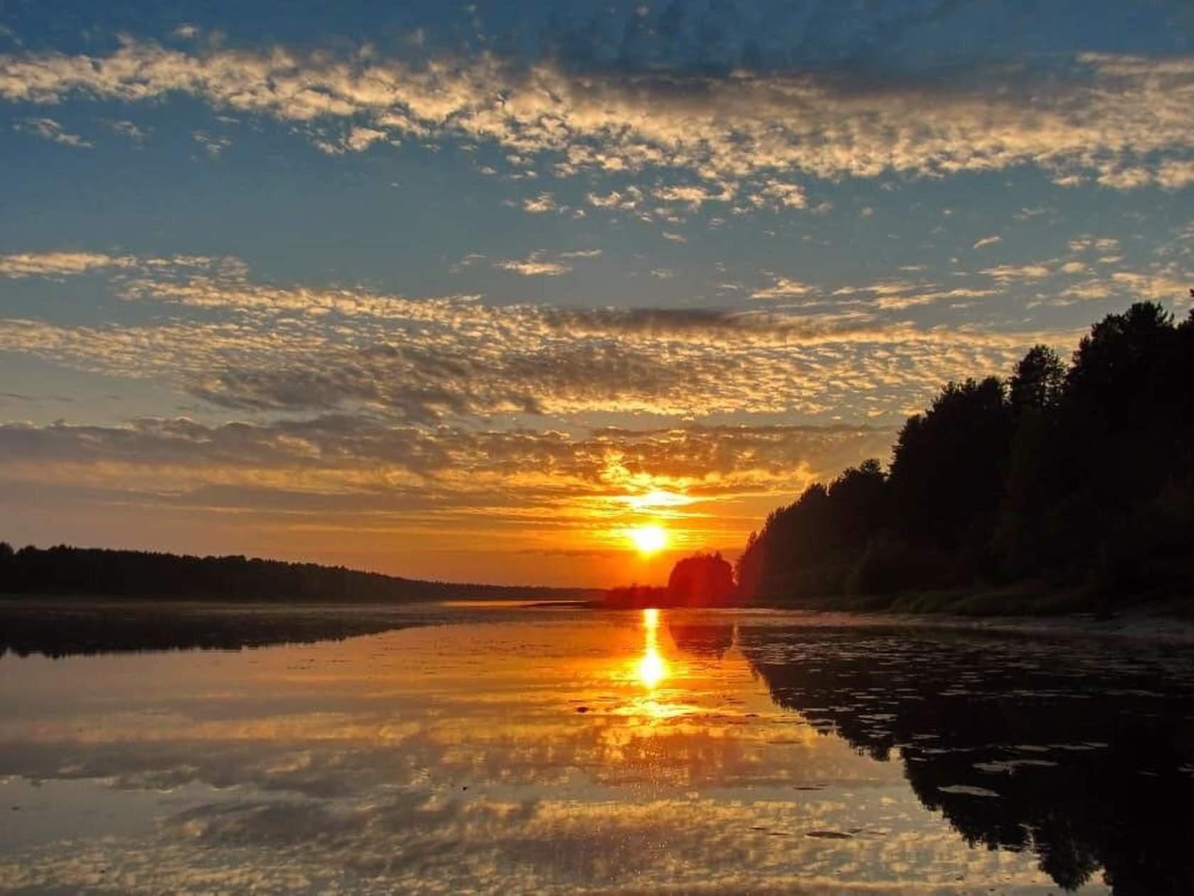 Картинки закат у озера