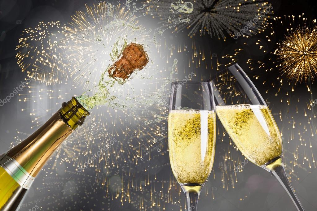 Открытка брызги шампанского, днем рождения открытка