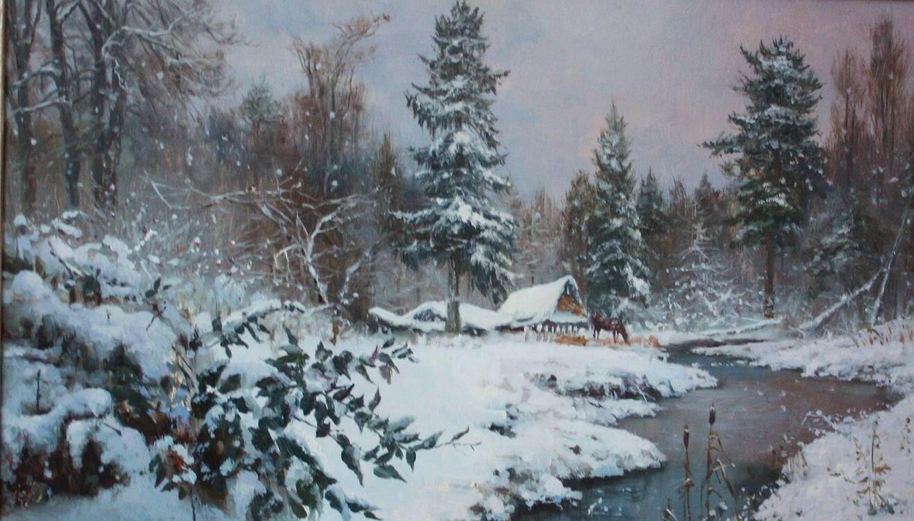 Картины художников снегопад фото