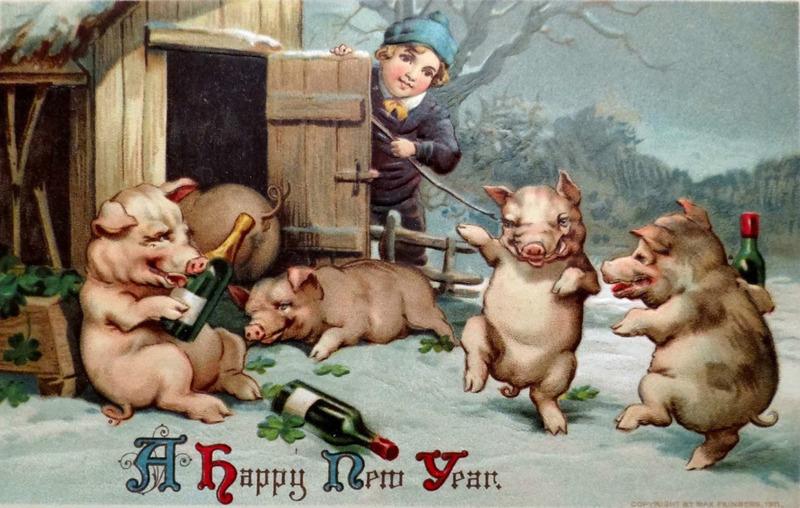 Дореволюционная открытка с новым годом свиньи, хочу ребенка тебя