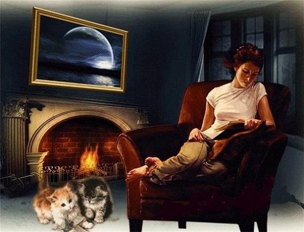 Гифка зимний вечер у камина, открыток