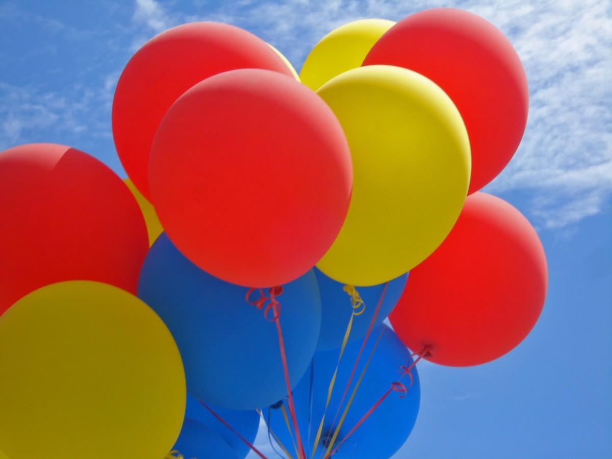 Днем рождения, открытка воздушный шарики