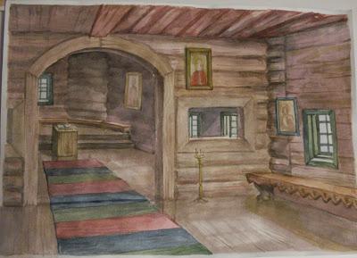 древнерусский дом внутри рисунок украшают