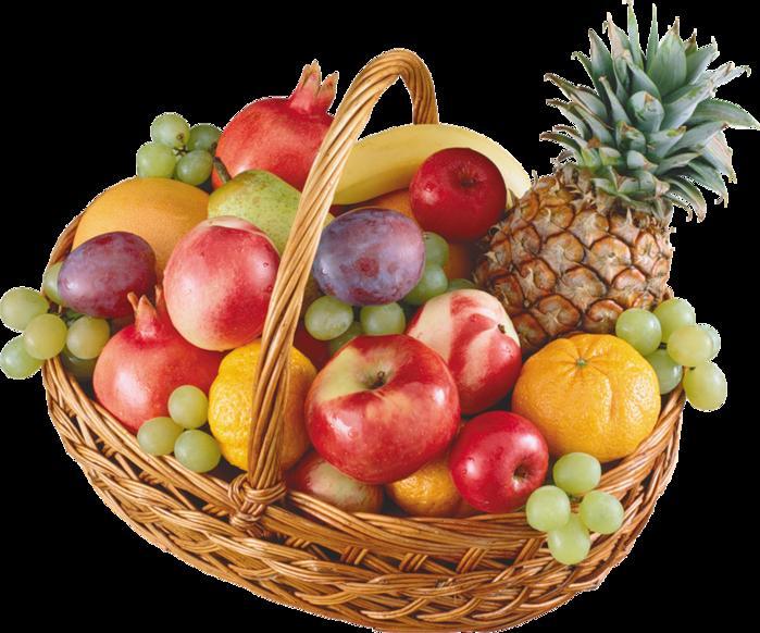 Надписью, корзина фруктов открытка