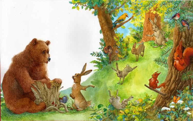 Медведь и птички картинки для детей