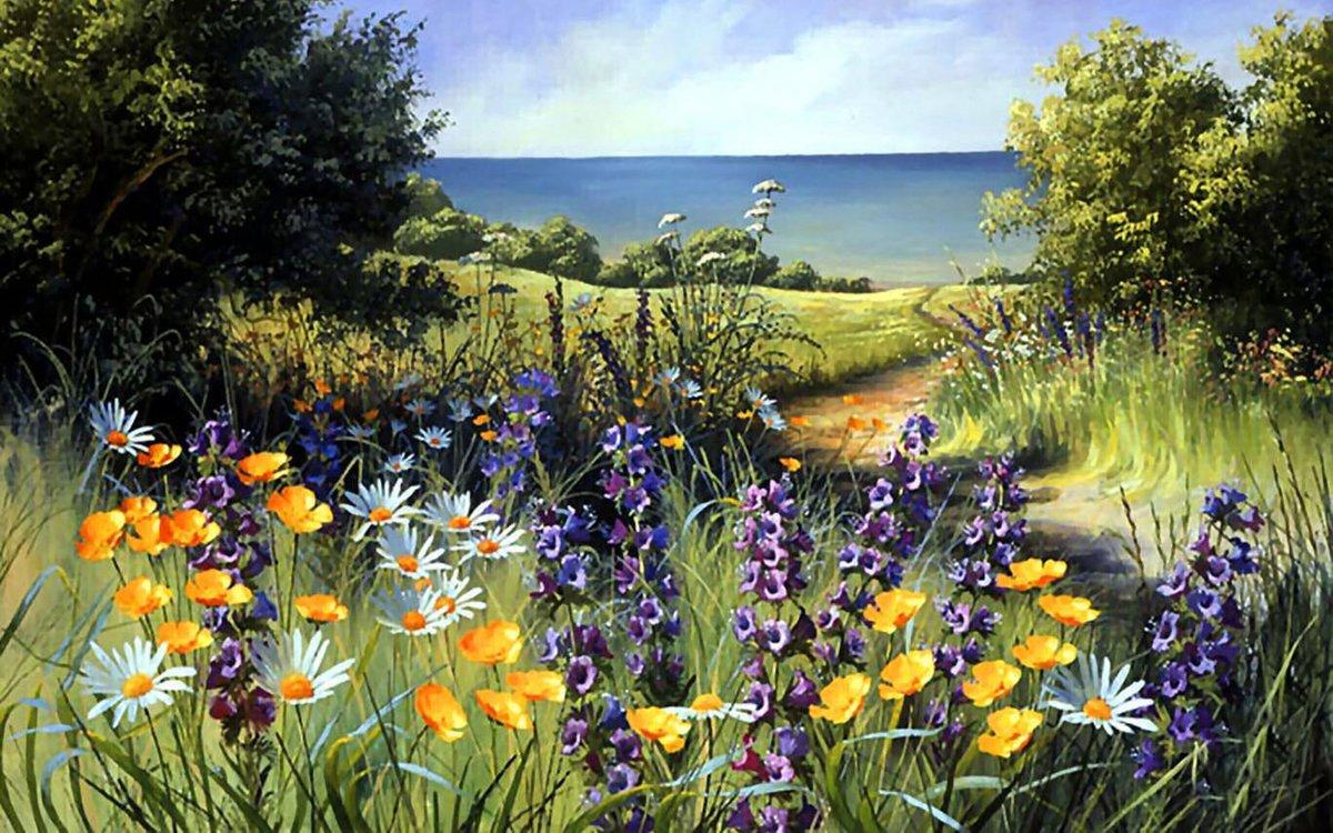 Картинки с летним пейзажем, днем рождения