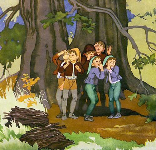 Дети потерялись в лесу рисунок