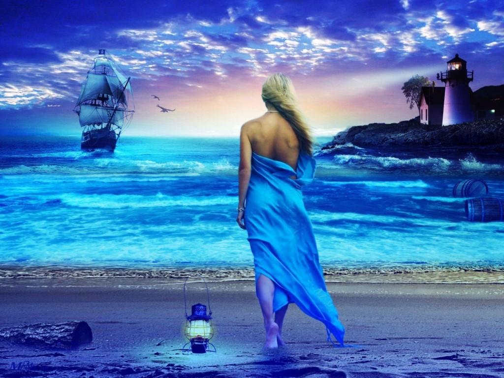 Картинка юбилей, картинка анимация женщина и море