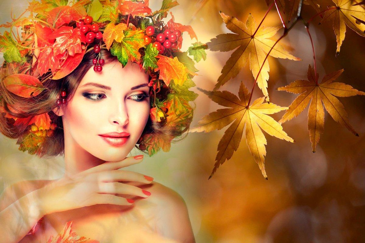 Надписью, картинки женщина-осень