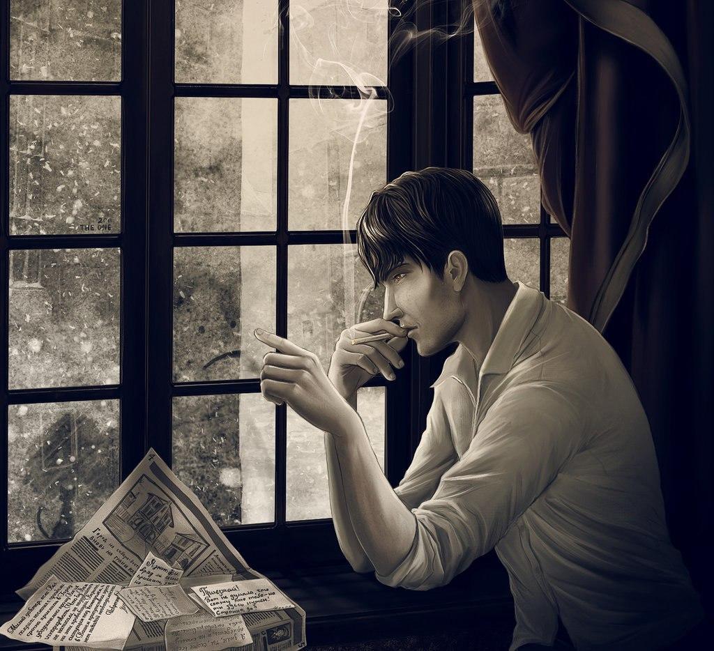 фото картинка сидящий мужчина у окна для
