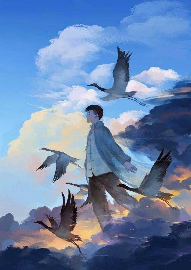 Картинка люди и птицы